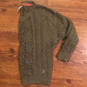 Olive Crocheted 3/4 Sleeve Sweater